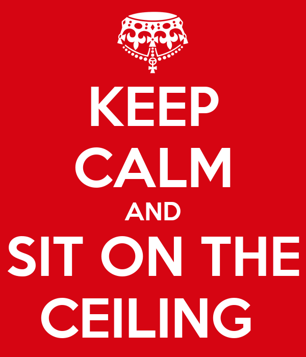 KEEP CALM AND SIT ON THE CEILING