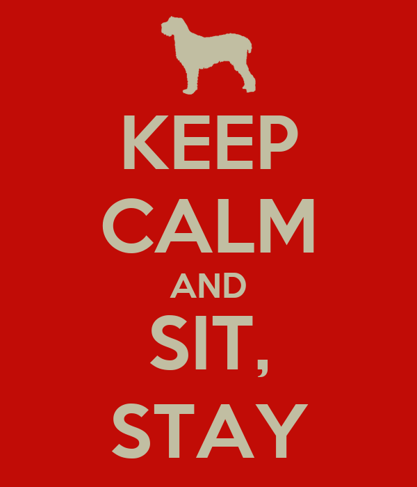 KEEP CALM AND SIT, STAY