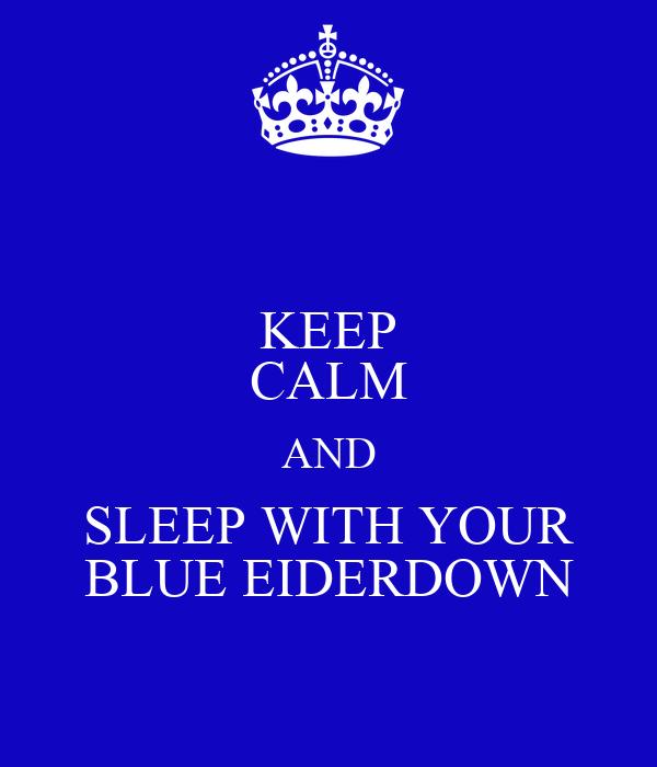 KEEP CALM AND SLEEP WITH YOUR BLUE EIDERDOWN