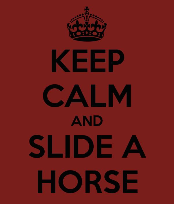 KEEP CALM AND SLIDE A HORSE