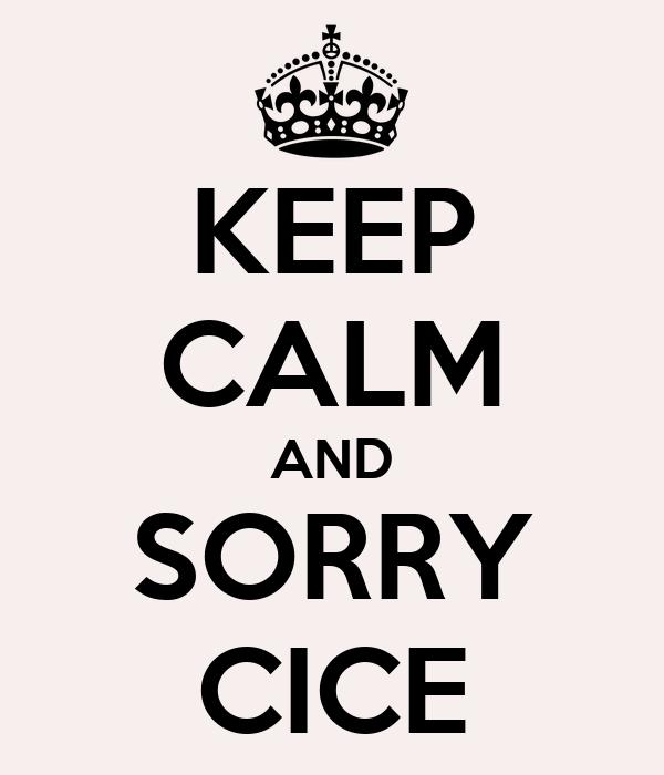 KEEP CALM AND SORRY CICE