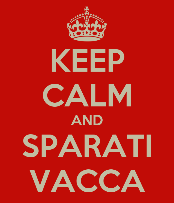 KEEP CALM AND SPARATI VACCA