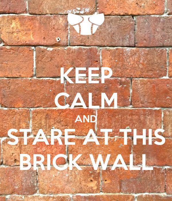 KEEP CALM AND STARE AT THIS BRICK WALL