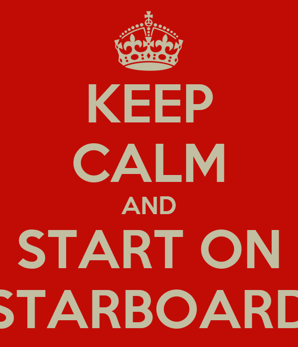 KEEP CALM AND START ON STARBOARD