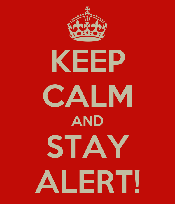 KEEP CALM AND STAY ALERT!