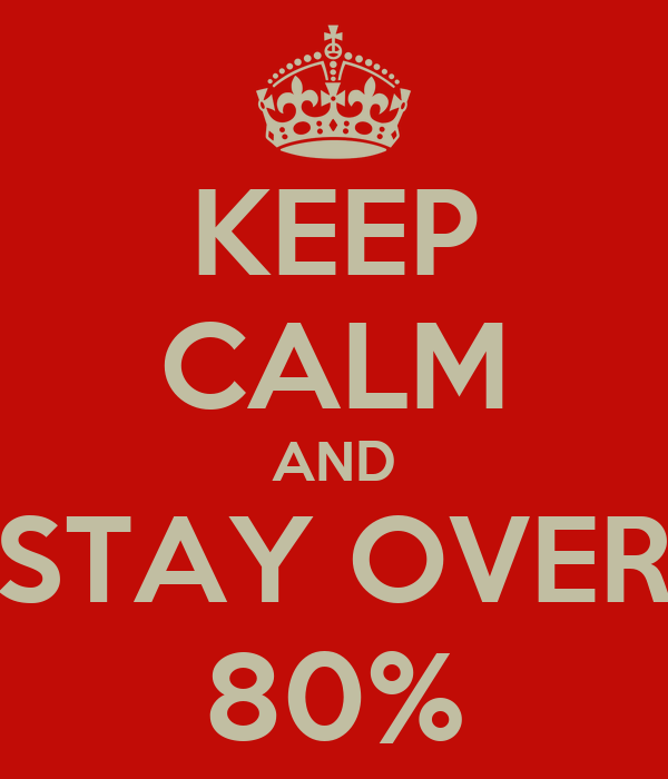KEEP CALM AND STAY OVER 80%