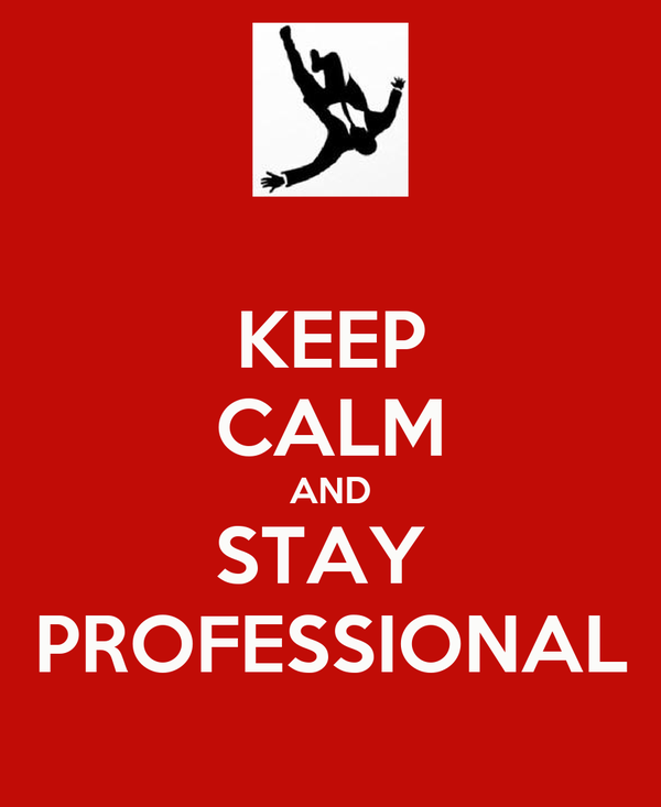 KEEP CALM AND STAY  PROFESSIONAL