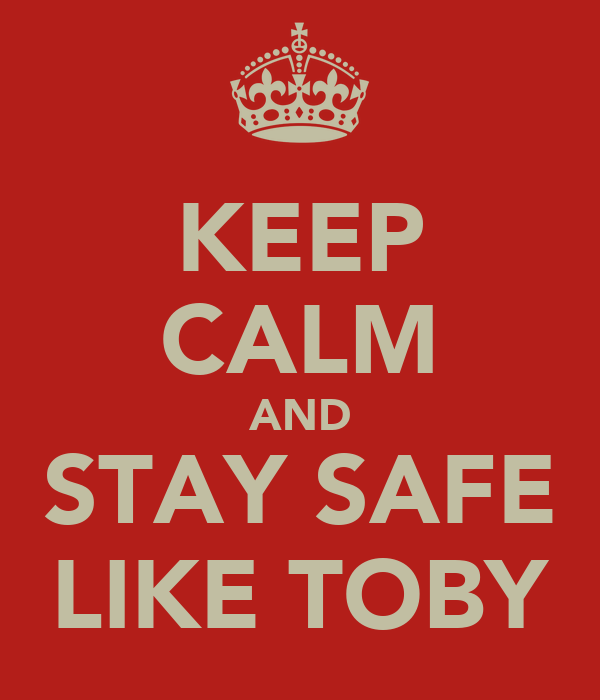 KEEP CALM AND STAY SAFE LIKE TOBY