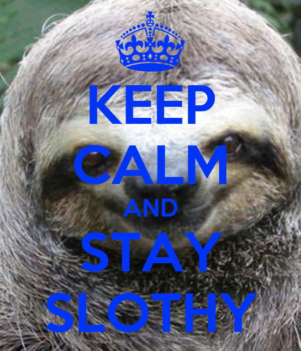 KEEP CALM AND STAY SLOTHY