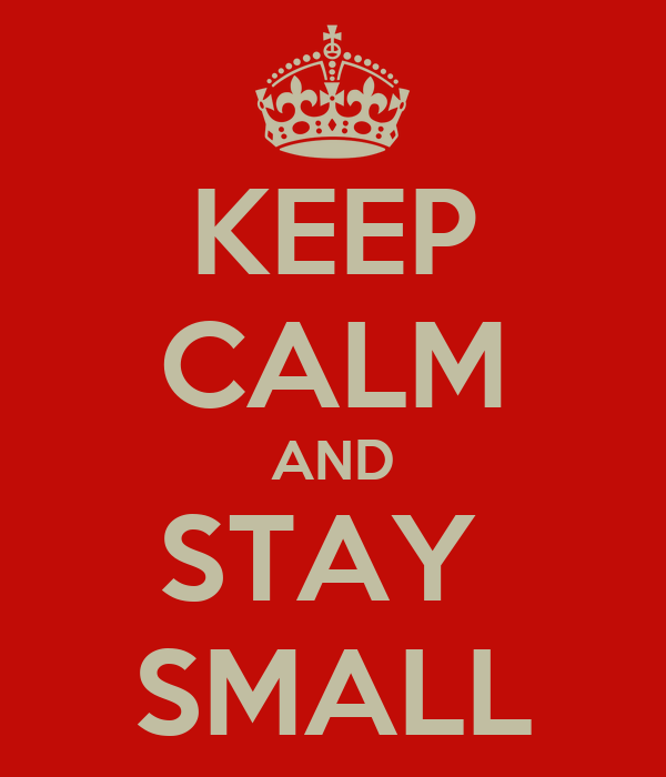 KEEP CALM AND STAY  SMALL