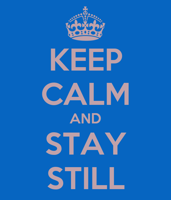 KEEP CALM AND STAY STILL