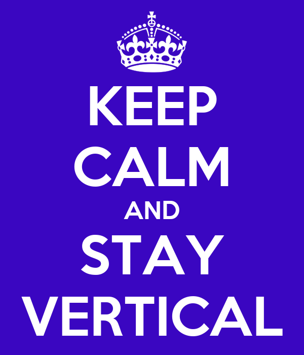 KEEP CALM AND STAY VERTICAL