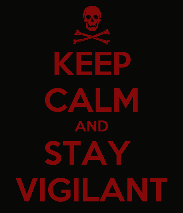 KEEP CALM AND STAY  VIGILANT