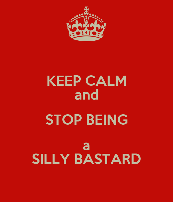 KEEP CALM and STOP BEING a SILLY BASTARD