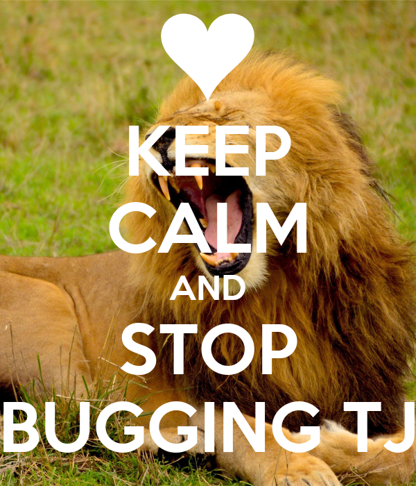 KEEP CALM AND STOP BUGGING TJ