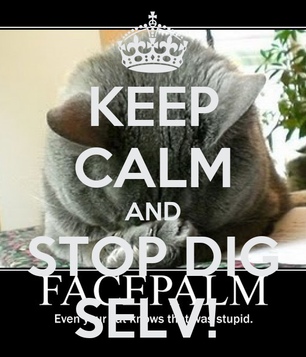 KEEP CALM AND STOP DIG SELV!
