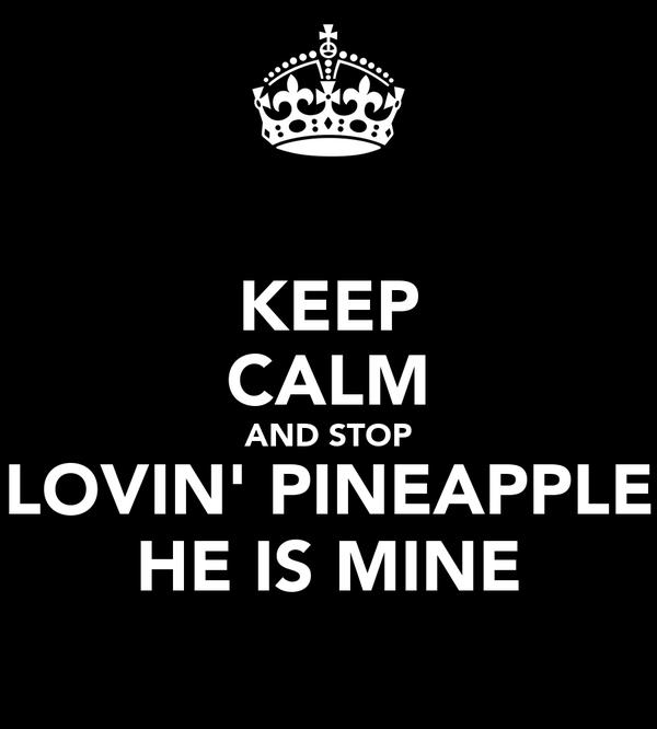 KEEP CALM AND STOP LOVIN' PINEAPPLE HE IS MINE