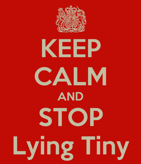 KEEP CALM AND STOP Lying Tiny