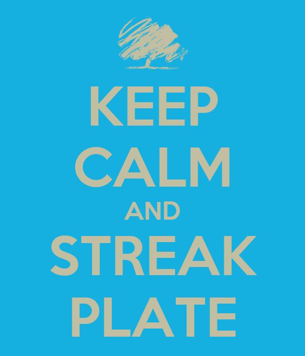 KEEP CALM AND STREAK PLATE