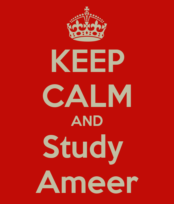 KEEP CALM AND Study  Ameer
