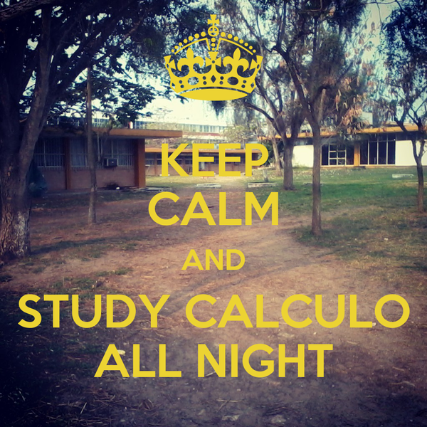 KEEP CALM AND STUDY CALCULO ALL NIGHT