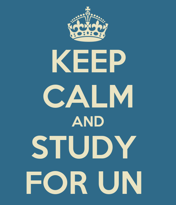 KEEP CALM AND STUDY  FOR UN
