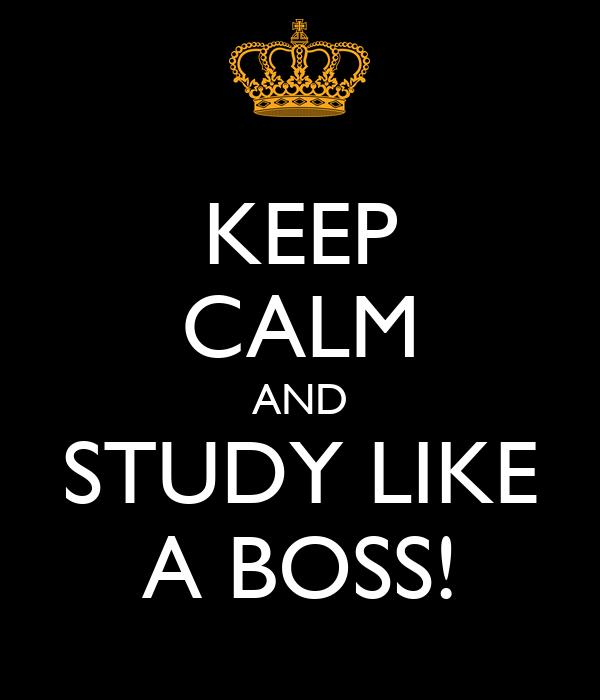 KEEP CALM AND STUDY LIKE A BOSS!