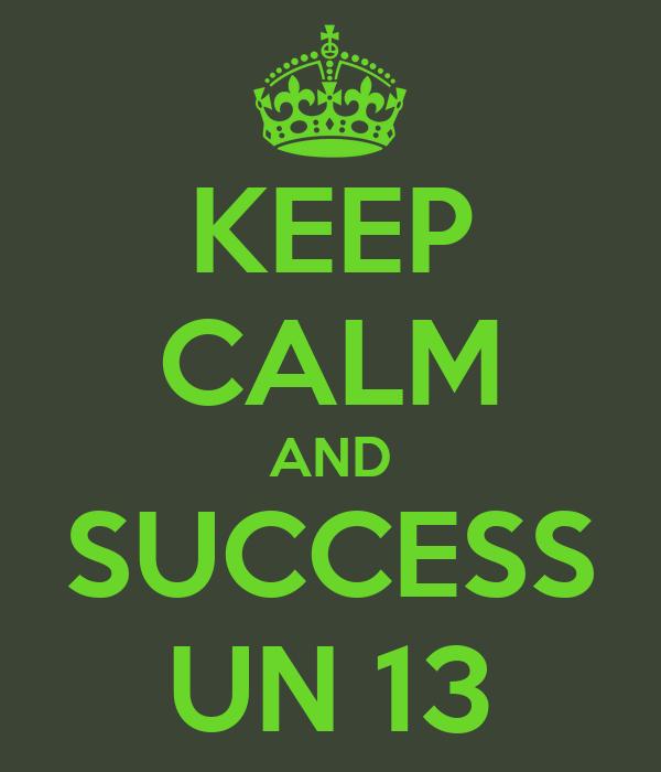 KEEP CALM AND SUCCESS UN 13