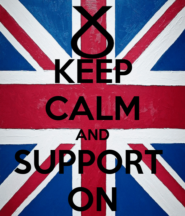 KEEP CALM AND SUPPORT  ON