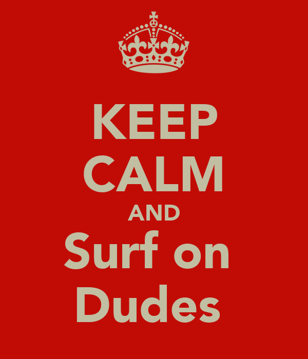 KEEP CALM AND Surf on  Dudes