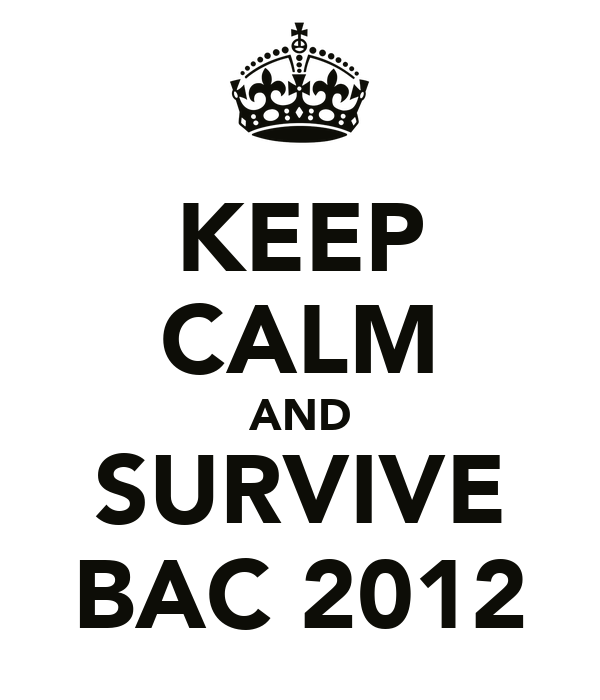 KEEP CALM AND SURVIVE BAC 2012
