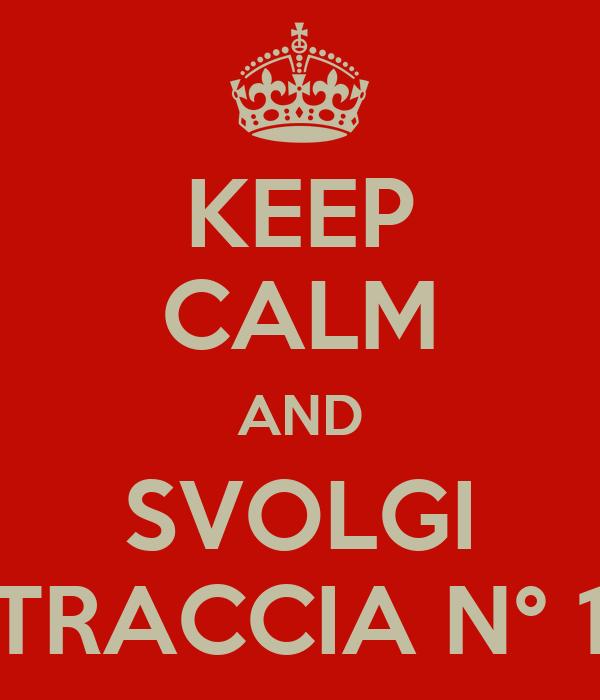 KEEP CALM AND SVOLGI TRACCIA N° 1