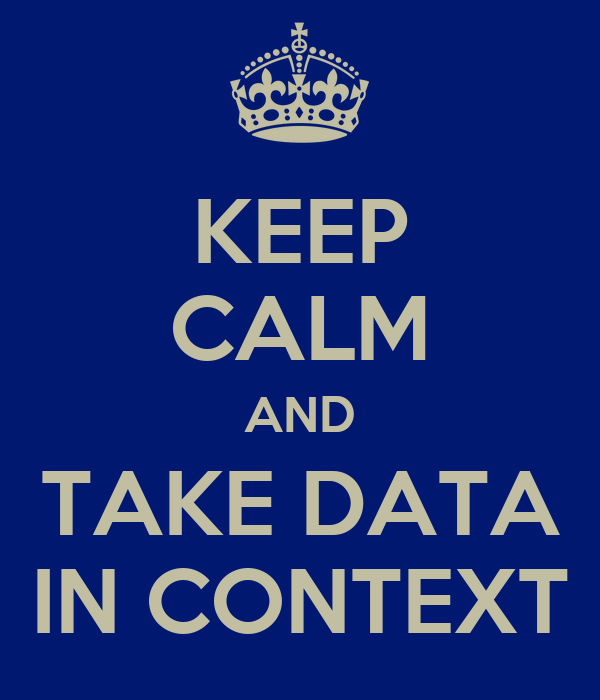 KEEP CALM AND TAKE DATA IN CONTEXT