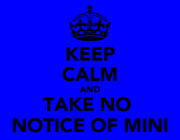 KEEP CALM AND TAKE NO  NOTICE OF MINI