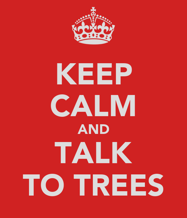 KEEP CALM AND TALK TO TREES