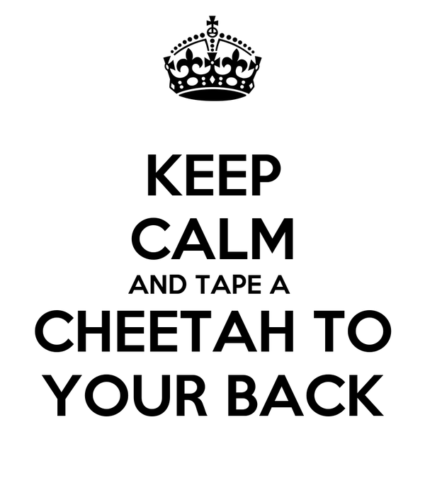 KEEP CALM AND TAPE A  CHEETAH TO YOUR BACK