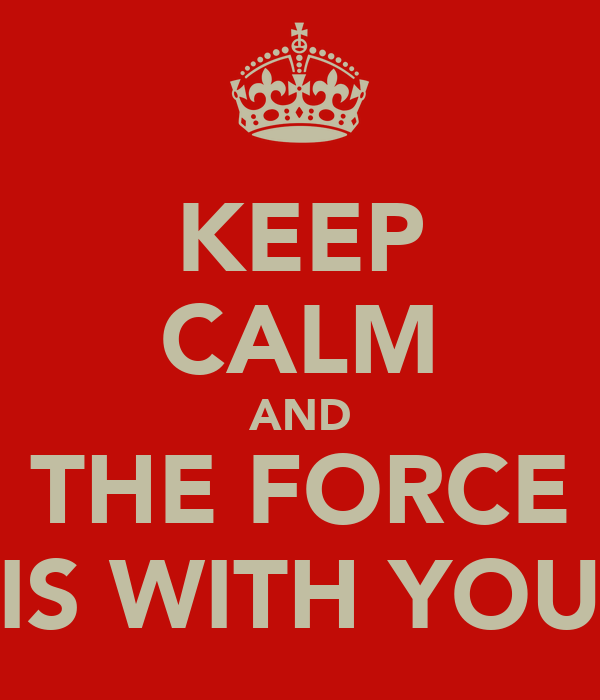 KEEP CALM AND THE FORCE IS WITH YOU