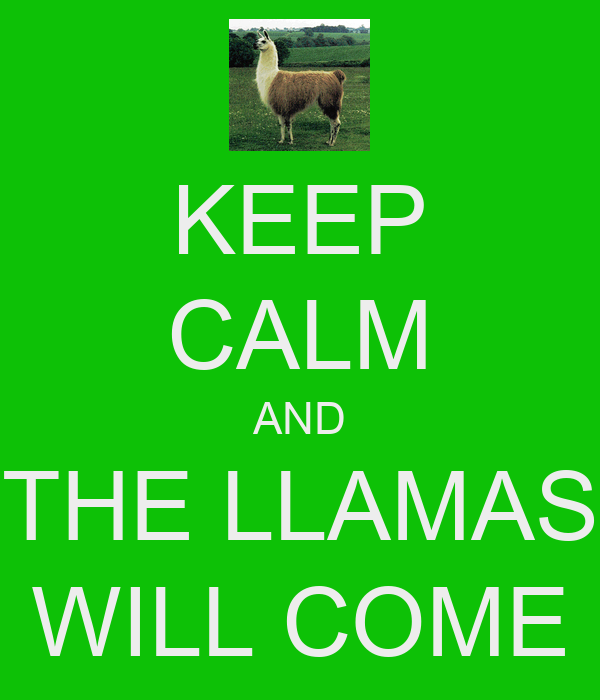 KEEP CALM AND THE LLAMAS WILL COME
