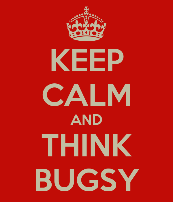 KEEP CALM AND THINK BUGSY