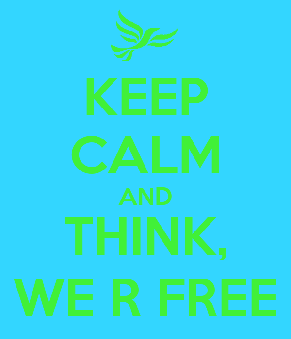 KEEP CALM AND THINK, WE R FREE