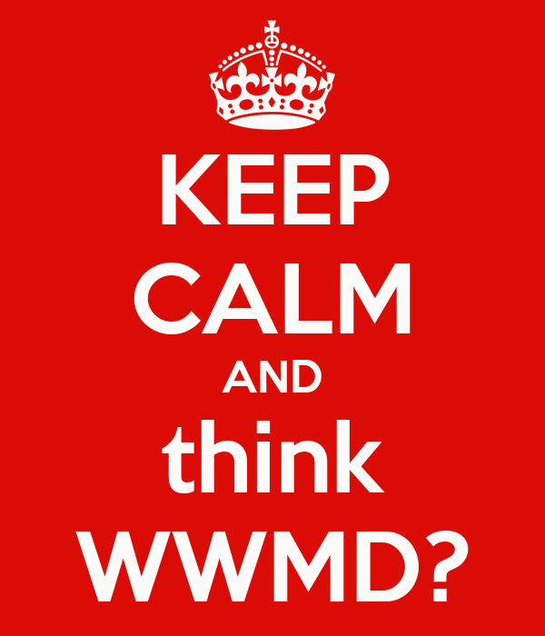 KEEP CALM AND think WWMD?