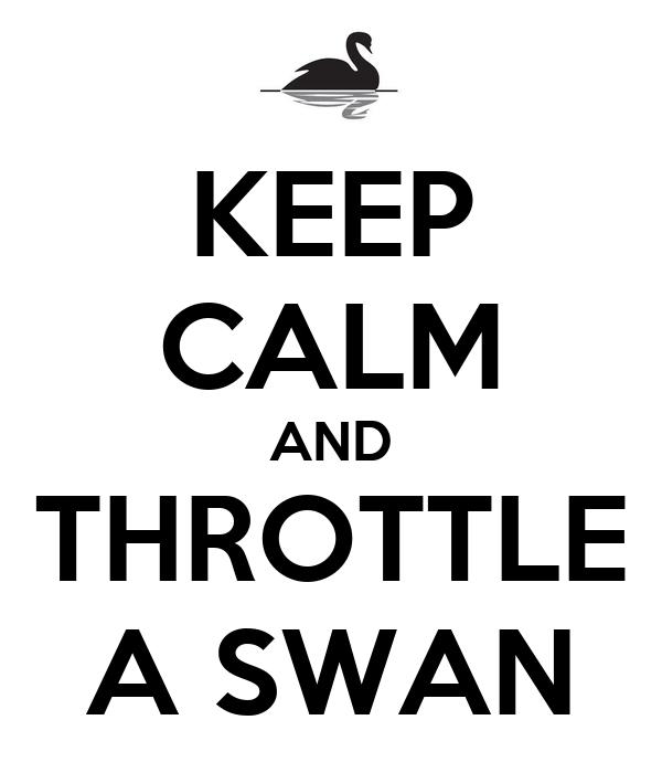 KEEP CALM AND THROTTLE A SWAN