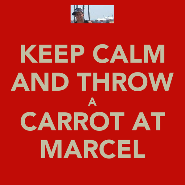 KEEP CALM AND THROW A CARROT AT MARCEL