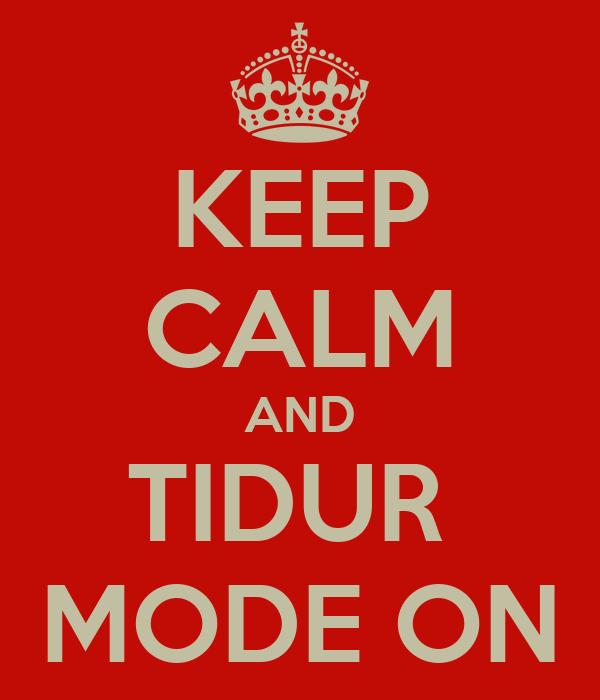 KEEP CALM AND TIDUR  MODE ON