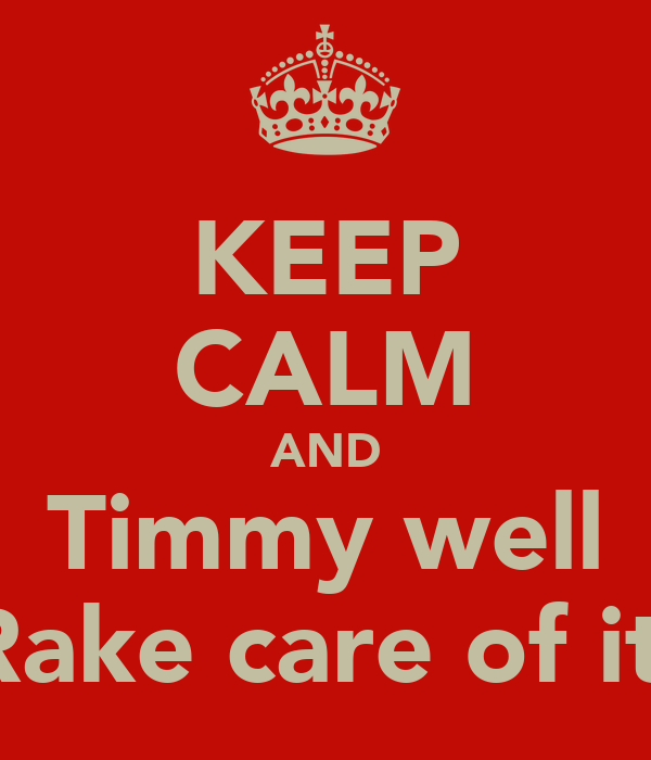 KEEP CALM AND Timmy well Rake care of it