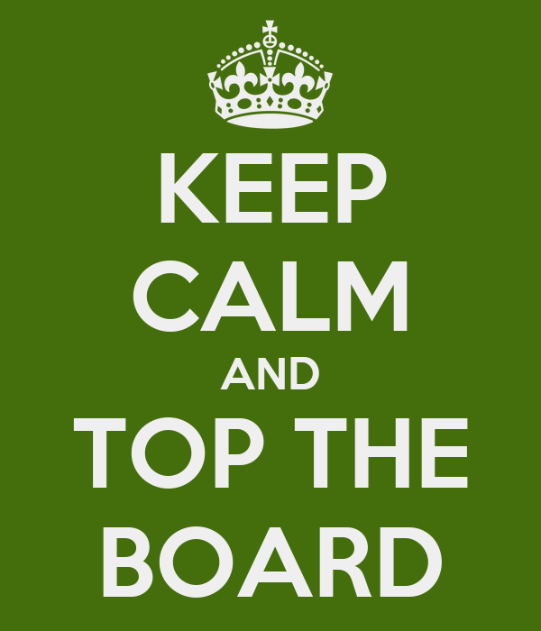 KEEP CALM AND TOP THE BOARD