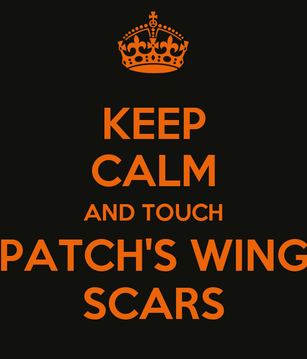 KEEP CALM AND TOUCH PATCH'S WING SCARS