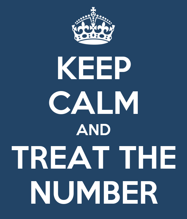 KEEP CALM AND TREAT THE NUMBER