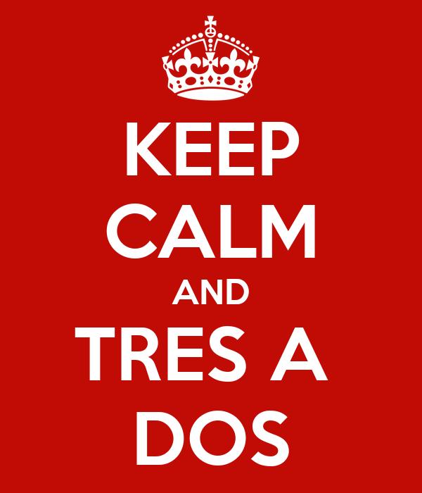 KEEP CALM AND TRES A  DOS