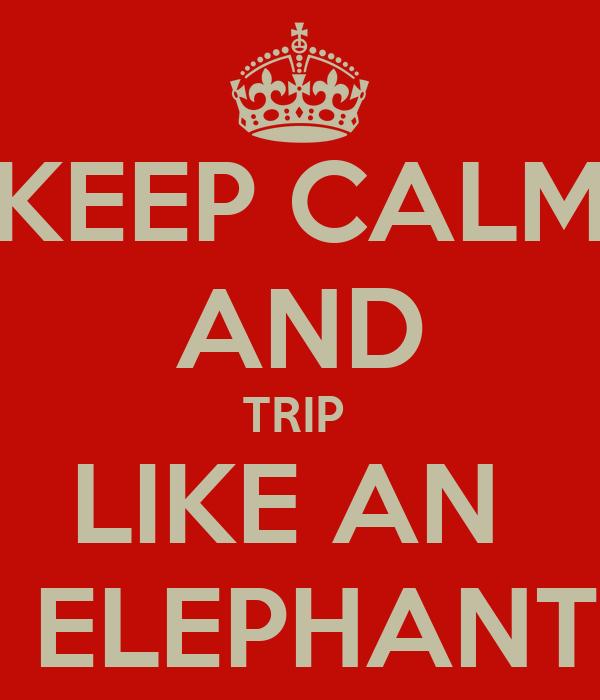 KEEP CALM AND TRIP  LIKE AN   ELEPHANT